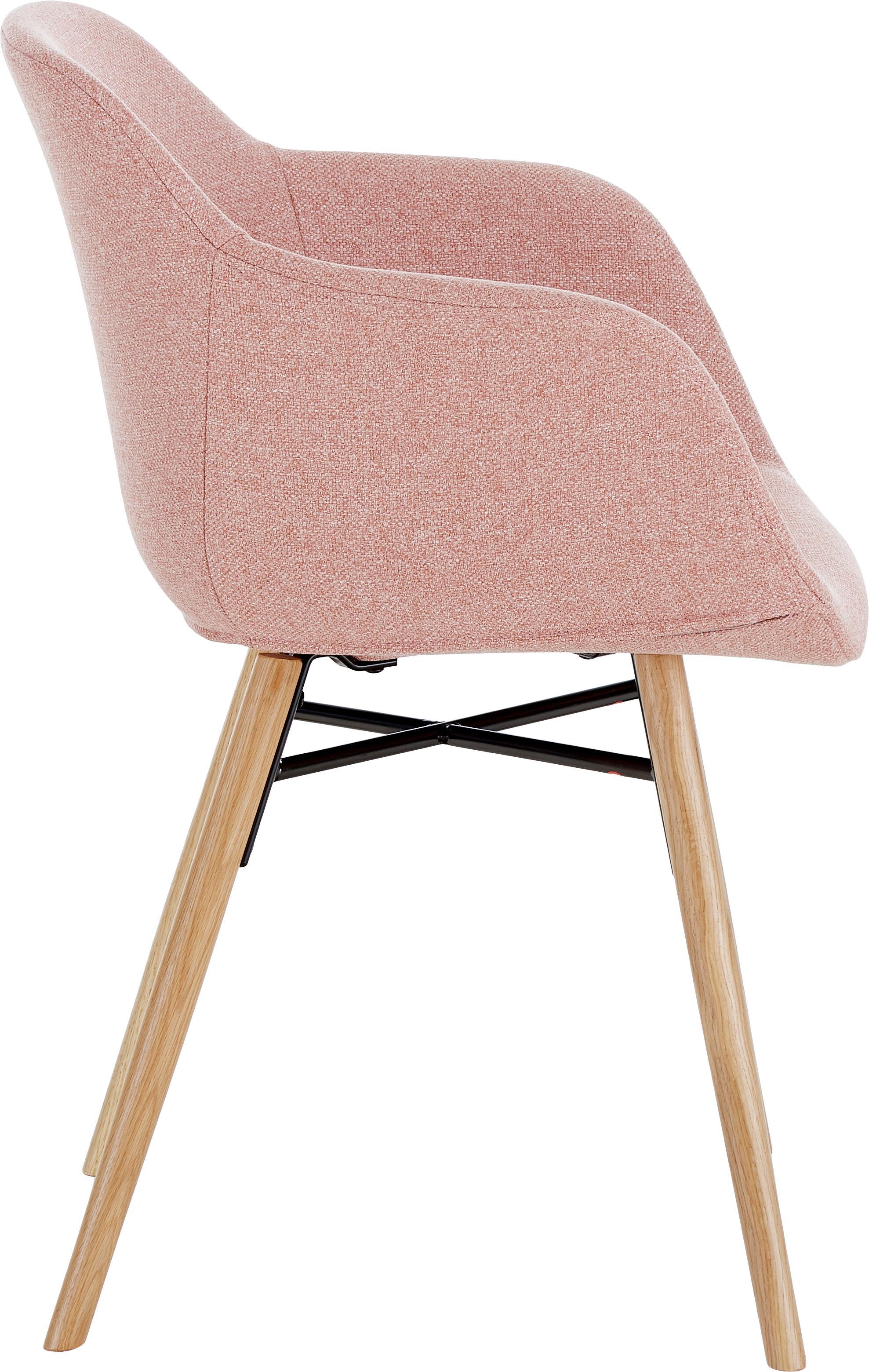 Silla con reposabrazos Fiji, Tapizado: poliéster 40.000ciclos e, Patas: madera de roble maciza, Tejido rosa, patas roble, An 59 x F 55 cm