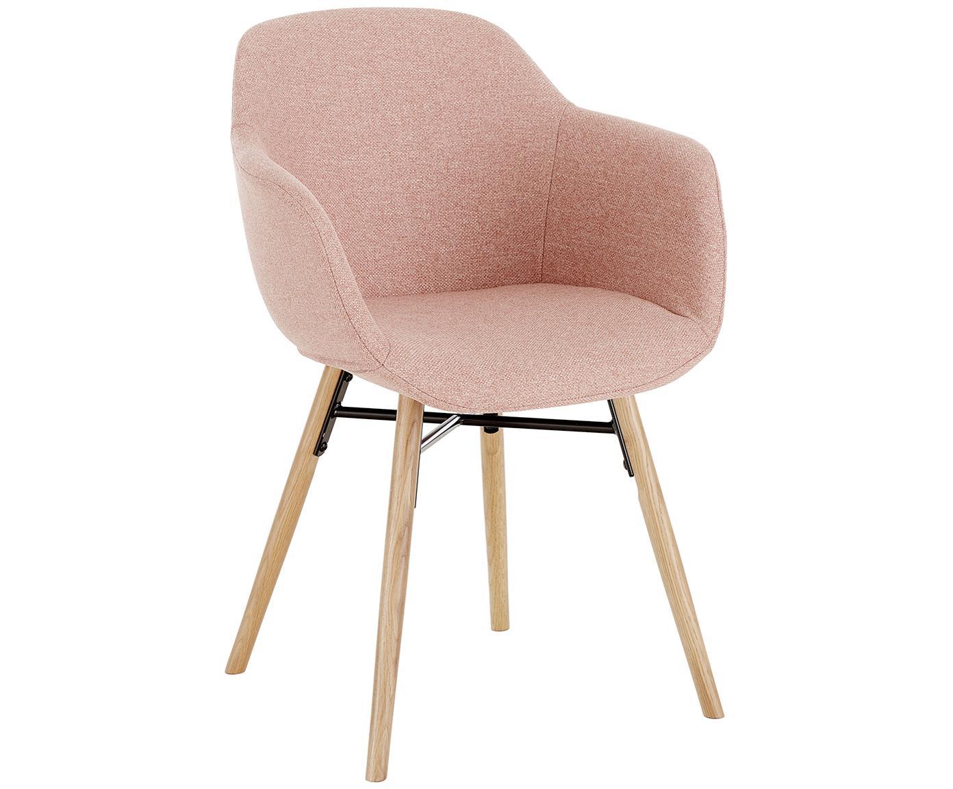Krzesło tapicerowane Fiji, Tapicerka: poliester 40 000 cykli w , Nogi: lite drewno dębowe, Siedzisko: blady różowy Nogi: drewno dębowe, S 59 x G 55 cm