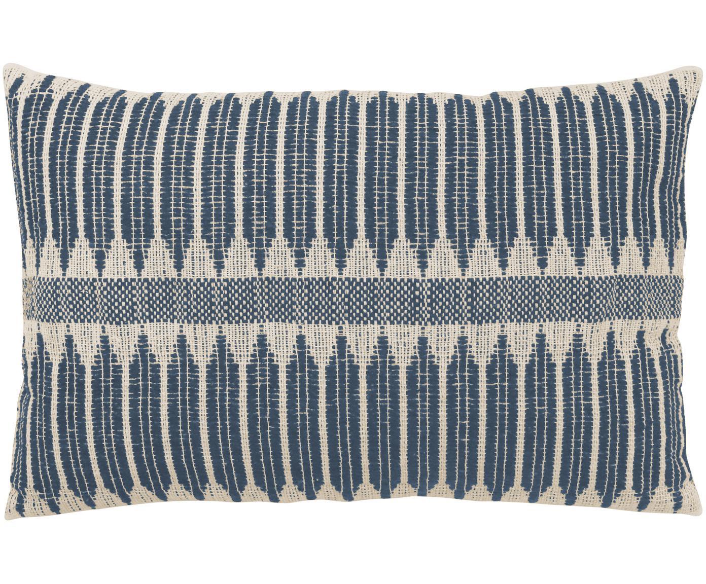 Handgemaakt kussen Aztec in boho stijl, met vulling, Donkerblauw, crèmekleurig, 40 x 60 cm