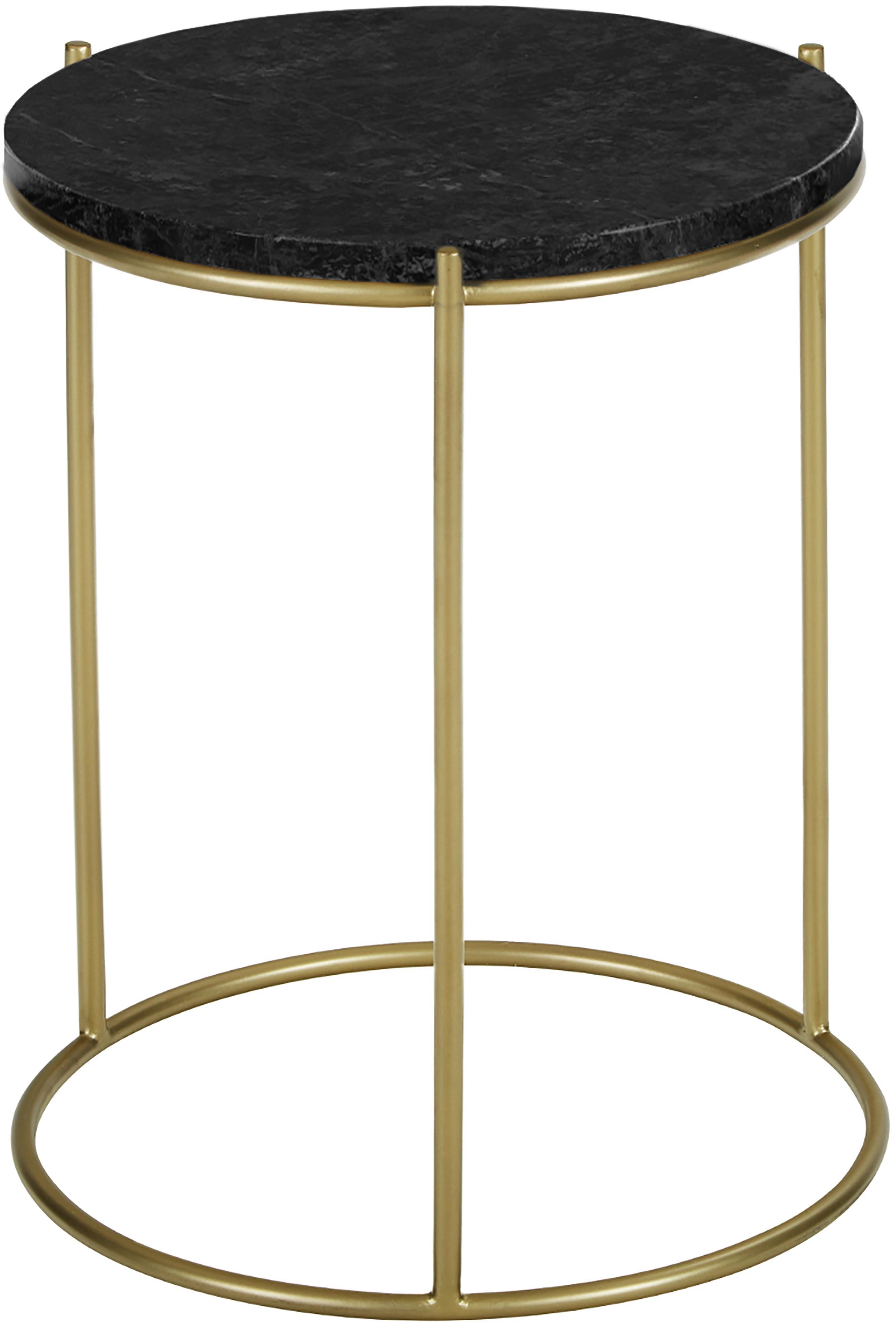 Ronde marmeren bijzettafel Ella, Tafelblad: marmer, Frame: gepoedercoat metaal, Tafelblad: zwart marmer. Frame: mat goudkleurig, Ø 40 x H 50 cm
