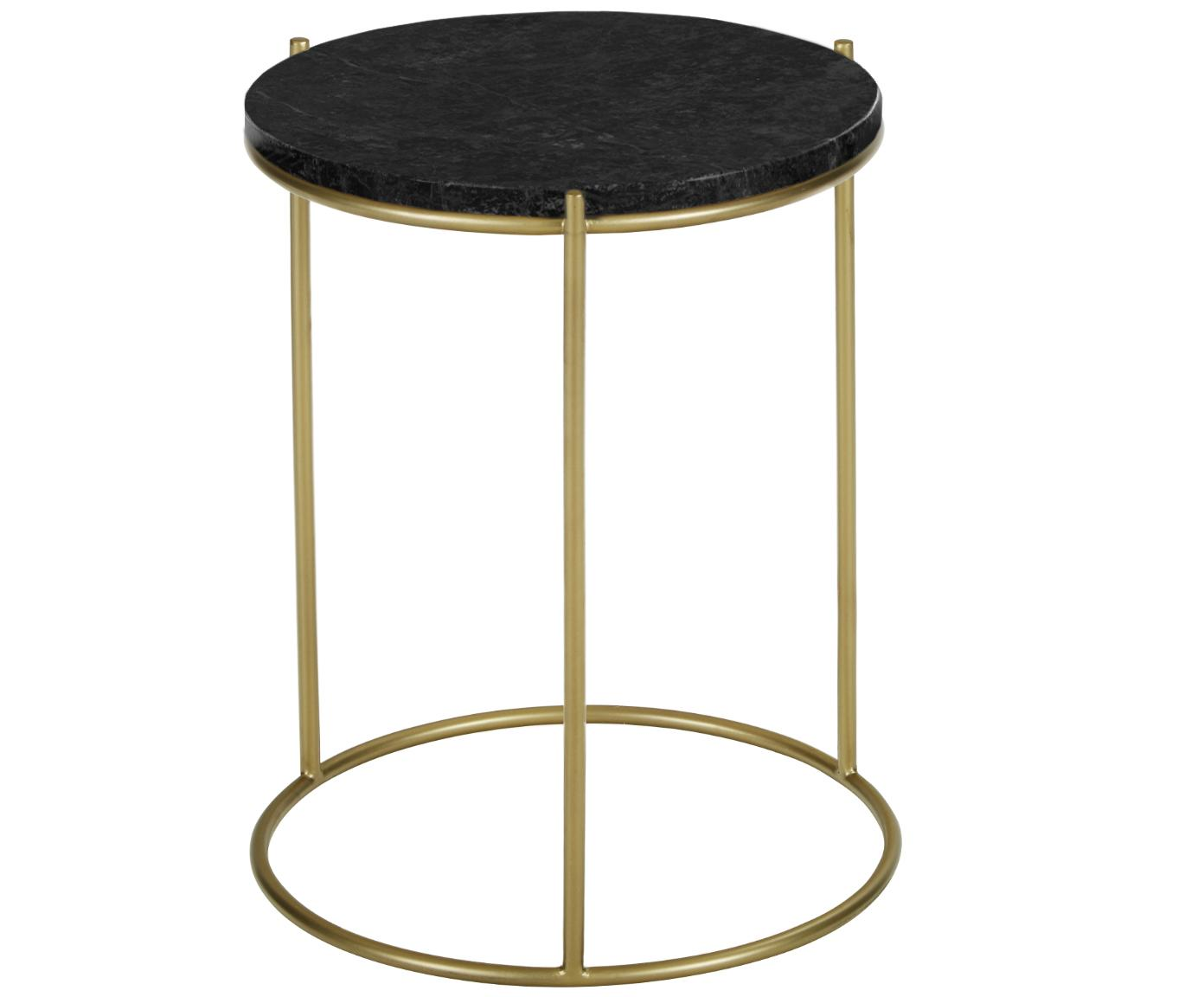 Runder Marmor-Beistelltisch Ella, Tischplatte: Marmor, Gestell: Metall, pulverbeschichtet, Tischplatte: Schwarzer Marmor Gestell: Goldfarben, matt, Ø 40 x H 50 cm