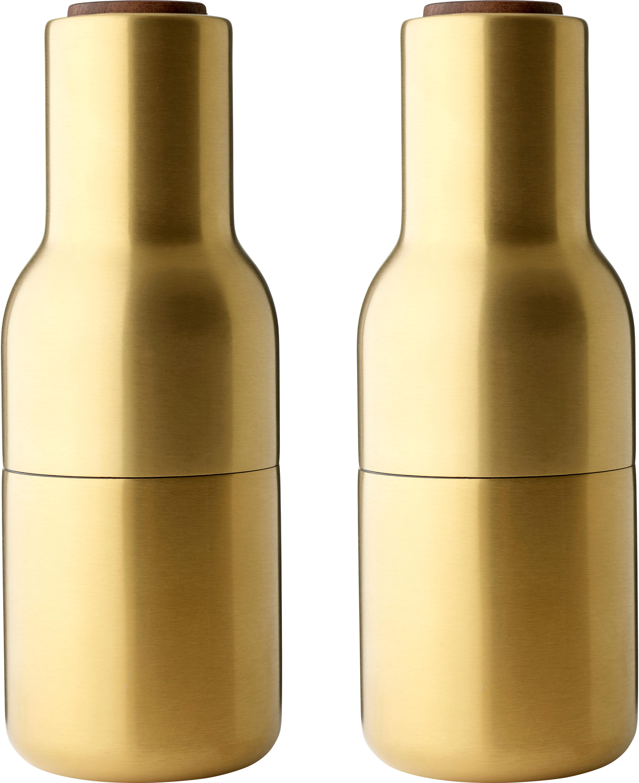 Set macina spezie dorato Bottle Grinder 2 pz, Coperchio: legno di noce, Ottonato, Ø 8 x Alt. 21 cm