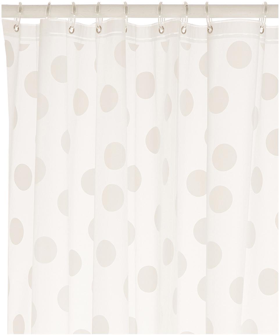 Kurzer Duschvorhang Golf mit Punkten, semi-transparent, Weiss, Grau, 180 x 180 cm