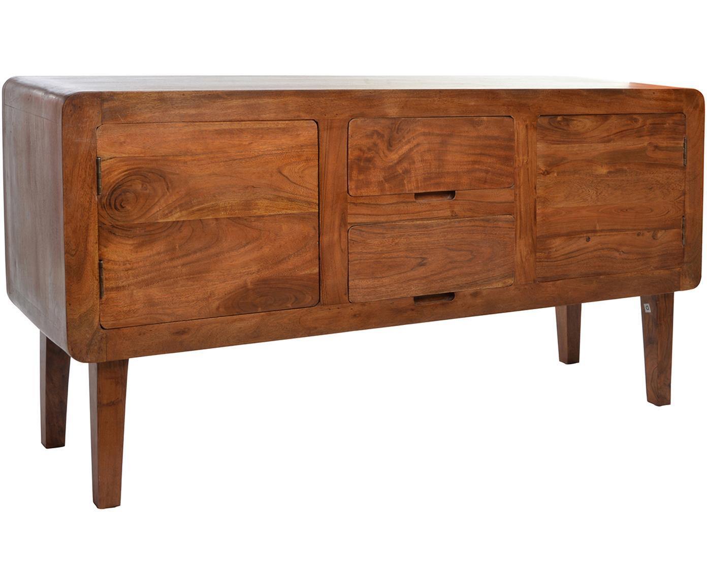 Aparador de madera de acacia Timo, Marrón, An 150 x Al 78 cm
