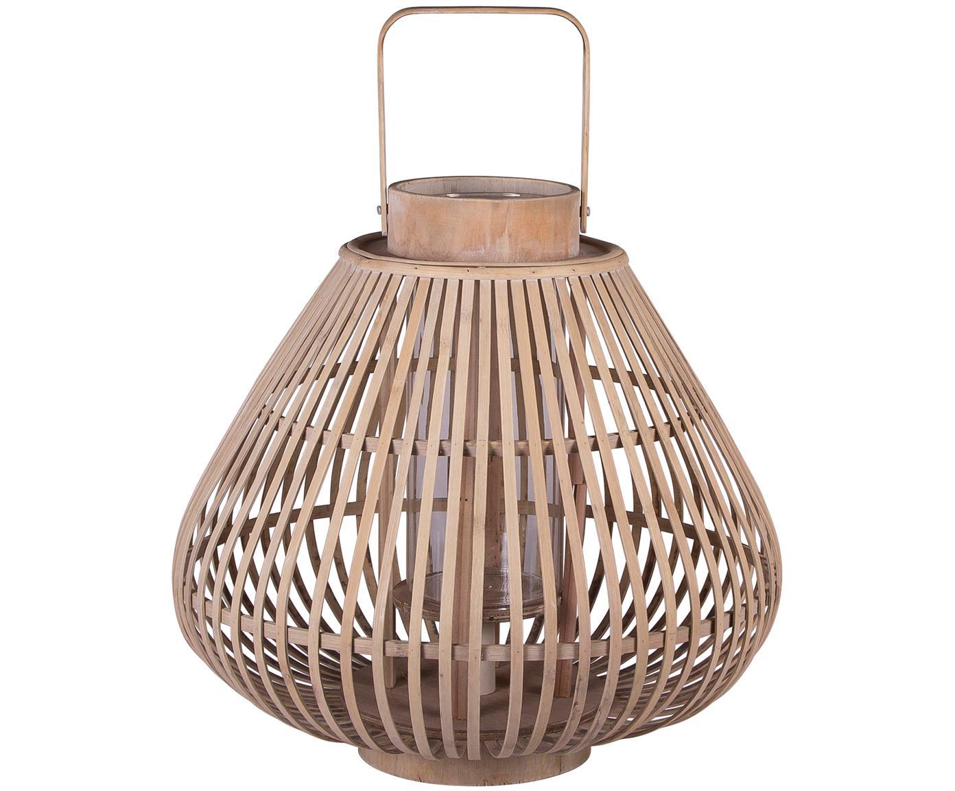 Świecznik Sahara, Rama: bambus Szklana wkładka: transparentny, Ø 39 x W 33 cm