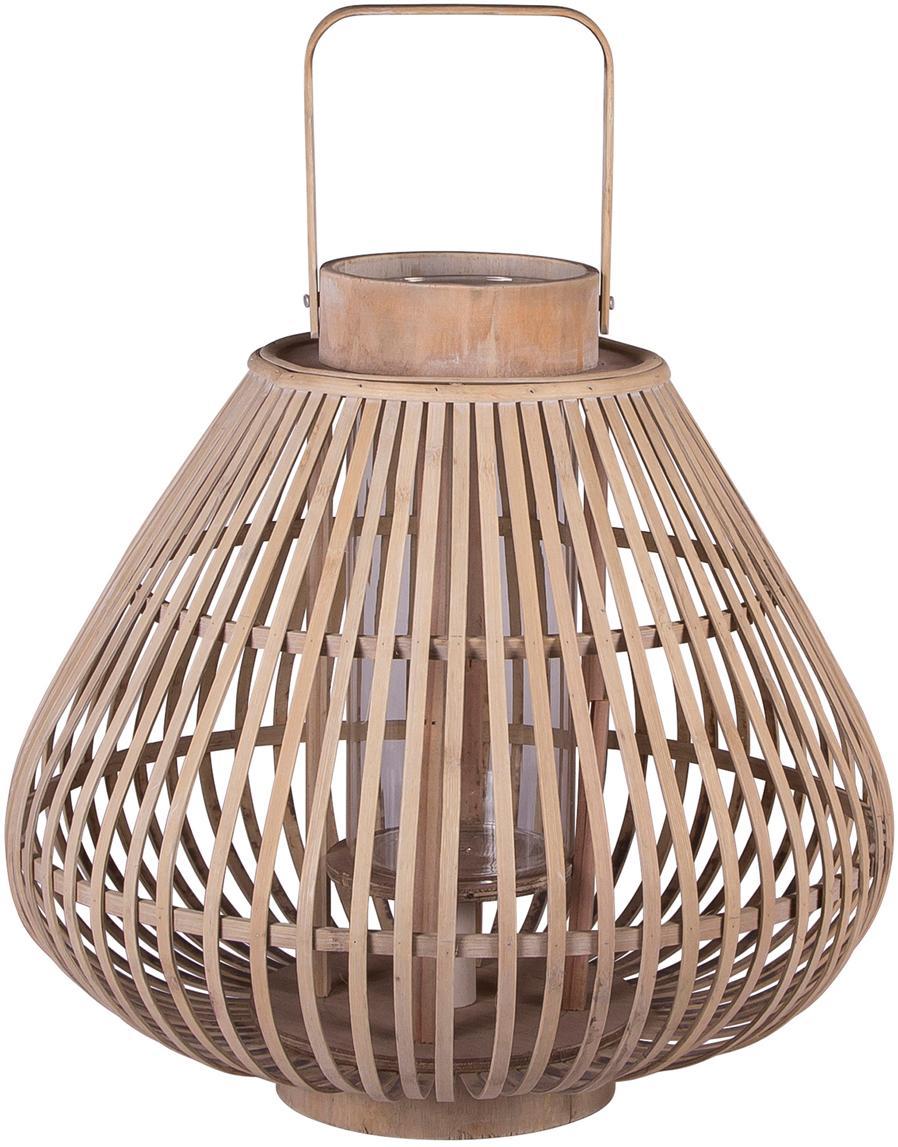 Lanterna Sahara, Corpo: legno di bambù<br>Inserto in vetro: trasparente, Ø 39 x Alt. 33 cm