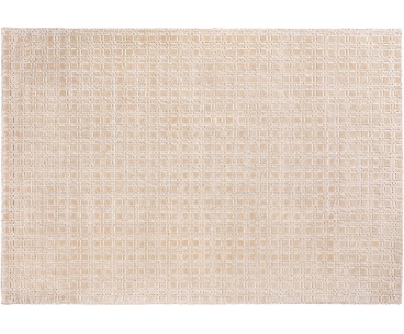 Handgeweven viscose vloerkleed Nelson, pluizig glanzend, Viscose, Crèmekleurig, B 140 x L 200 cm (maat S)