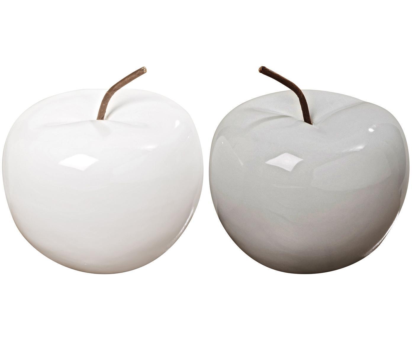Decoratieve appels Alvaro, 2 stuks, Keramiek, Wit, bruin, Ø 13 x H 12 cm