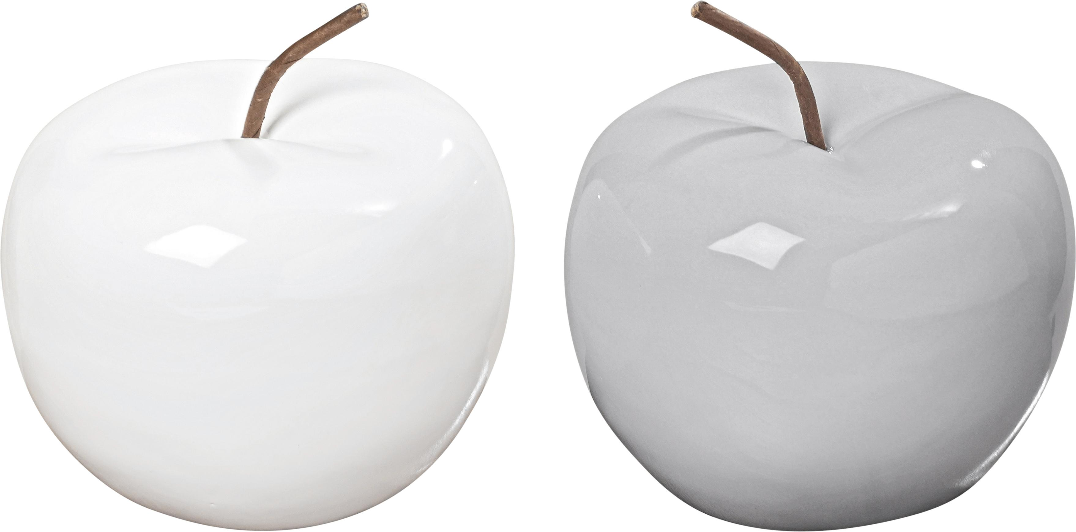 Manzanas decorativas Alvaro, 2uds., Gres, Blanco, marrón, Ø 13 x Al 12 cm