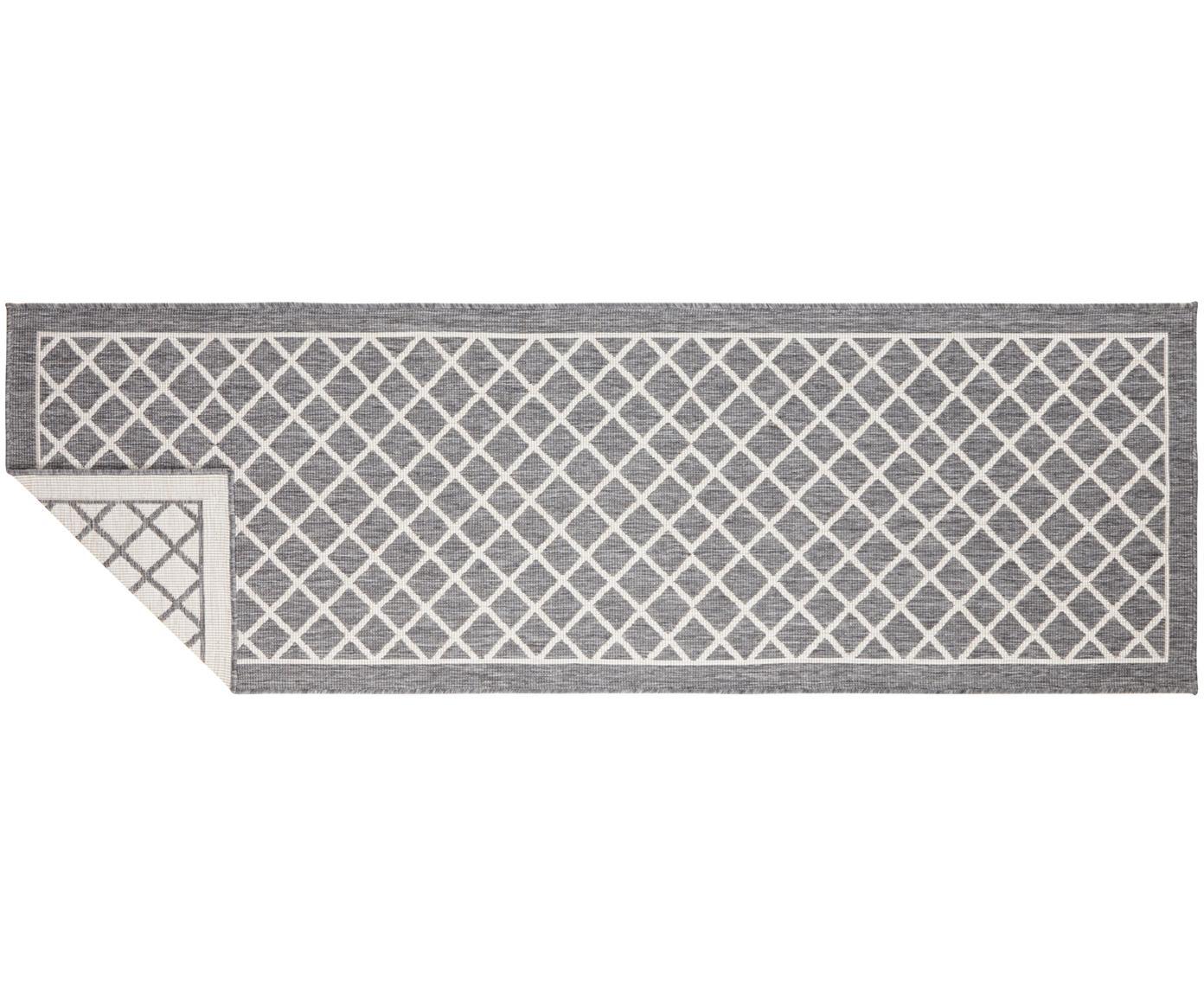 Alfombra de interior/exterior Sydney, caras distintas, Gris, crema, An 80 x L 250 cm