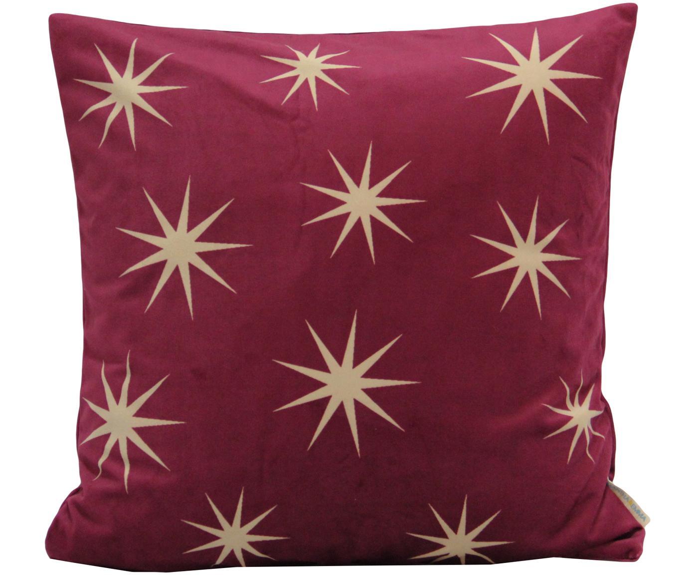 Samt-Kissenhülle Stars mit goldenem Sternen Print, Polyestersamt, Rot, Beige, 45 x 45 cm