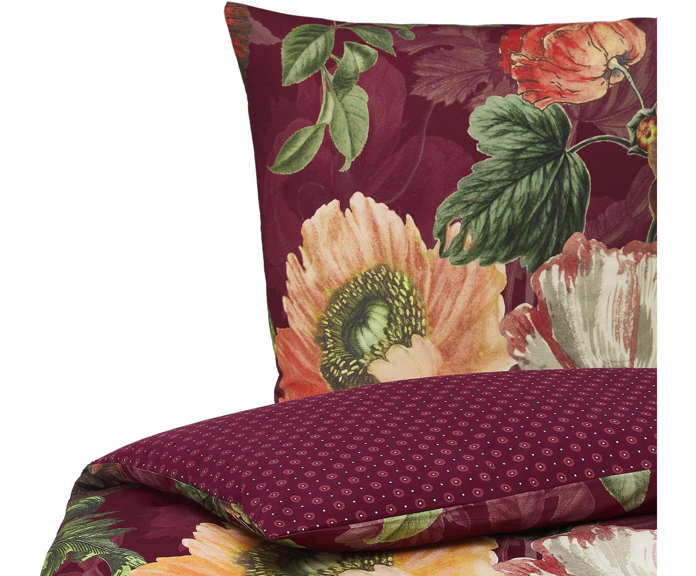 Flanell-Wendebettwäsche Esmee mit Blumen-Muster, Webart: Flanell Fadendichte 81 TC, Dunkelrot, Mehrfarbig, 135 x 200 cm + 1 Kissen 80 x 80 cm
