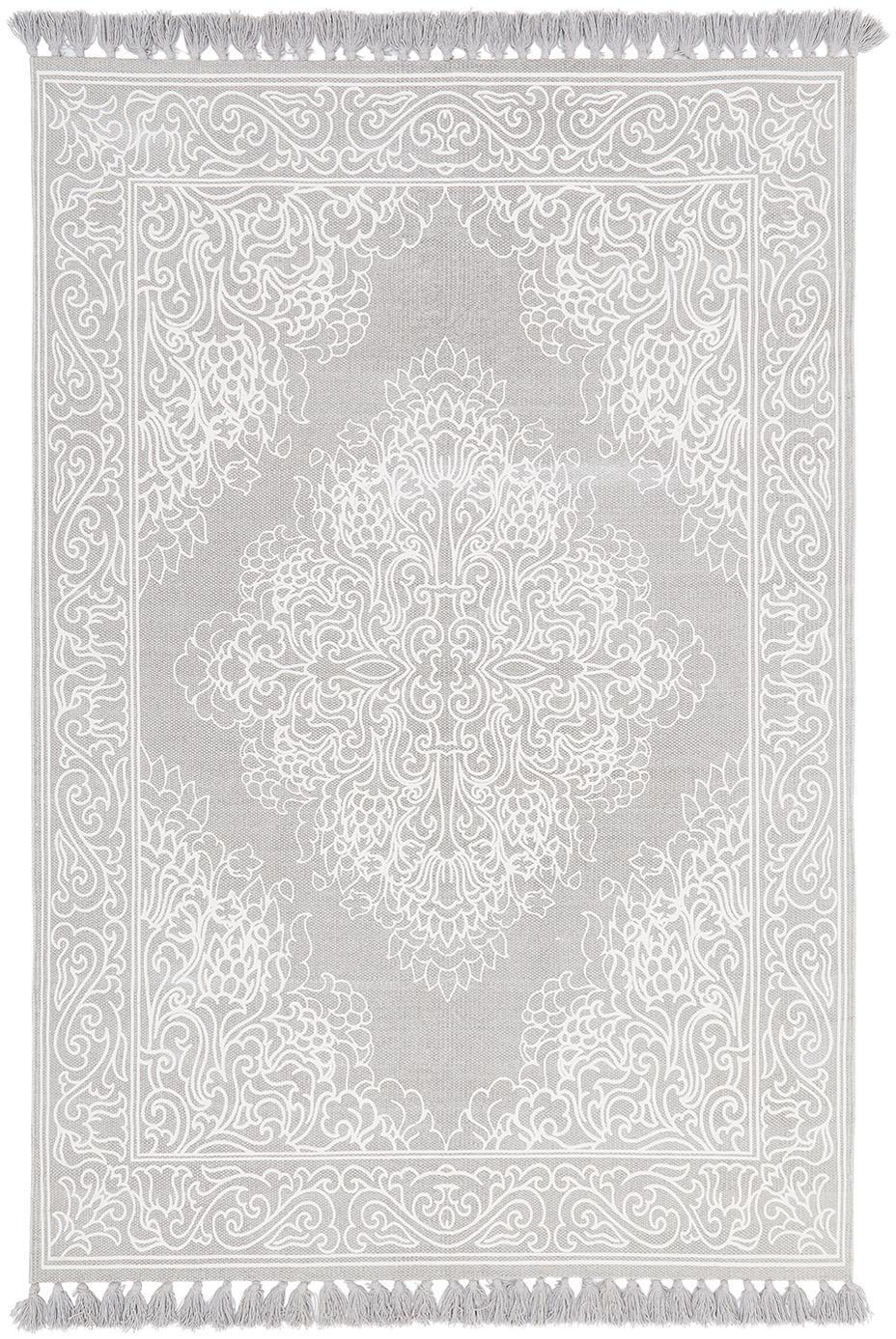 Alfombra artesanal de algodón con borlas Salima, 100%algodón, Gris claro, crema, An 50 x L 80 cm (Tamaño XXS)