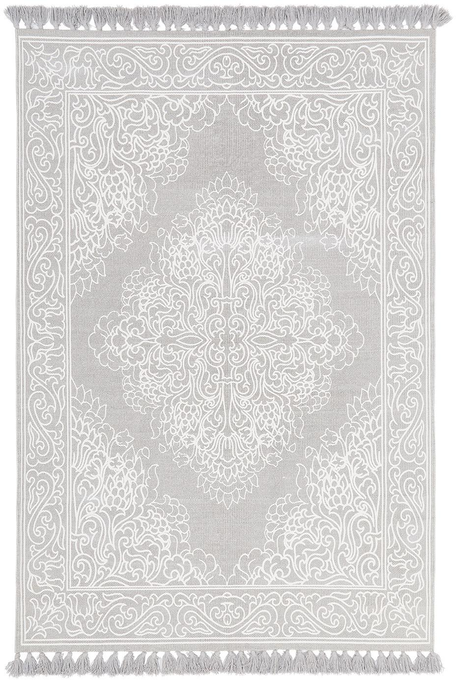 Gemusterter Baumwollteppich Salima mit Quasten, handgewebt, 100% Baumwolle, Hellgrau, Cremeweiss, B 50 x L 80 cm (Grösse XXS)