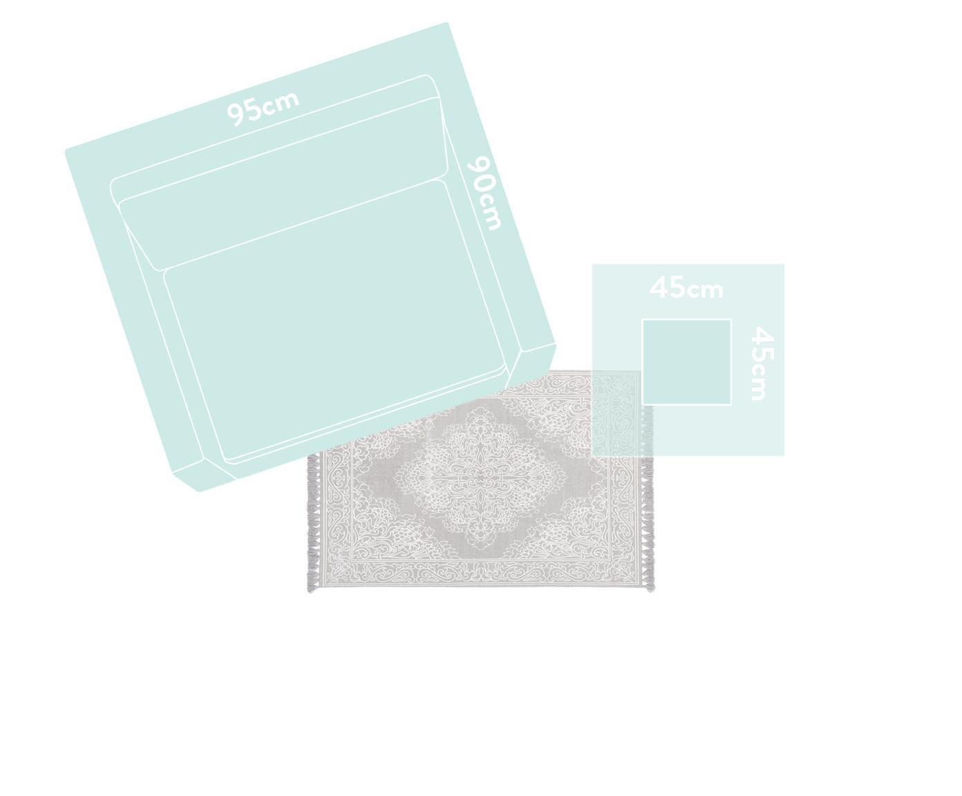 Ręcznie tkany dywan z bawełny z chwostami Salima, 100% bawełna, Jasny szary, kremowobiały, S 120 x D 180 cm (Rozmiar S)