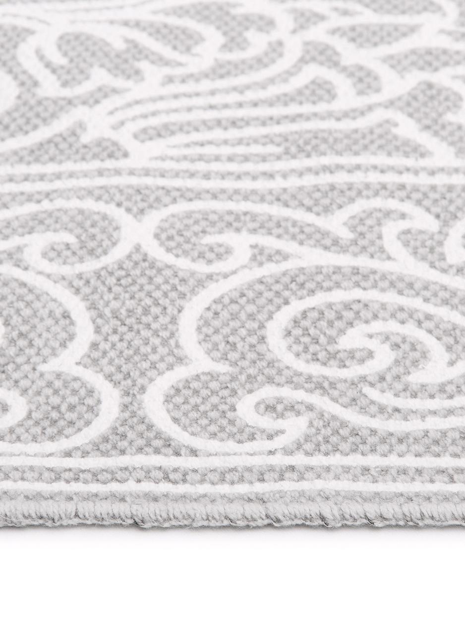 Vzorovaný bavlnený koberec so strapcami Salima, ručne tkaný, Bledosivá, krémovobiela