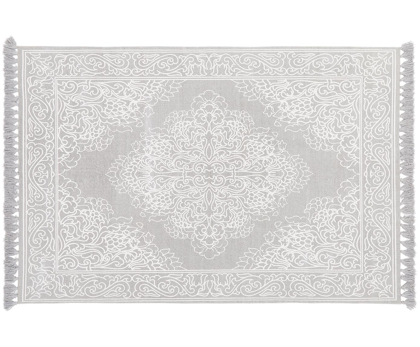Gemusterter Baumwollteppich Salima mit Quasten, handgewebt, 100% Baumwolle, Hellgrau, Cremeweiß, B 50 x L 80 cm (Größe XXS)
