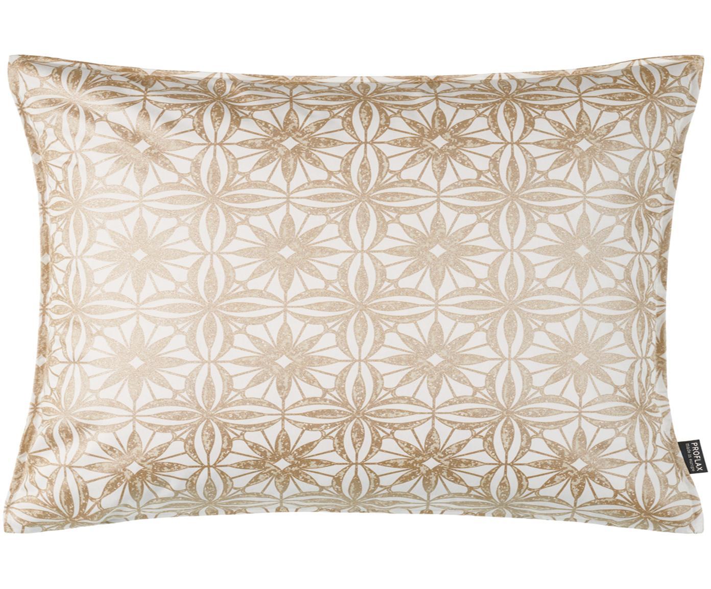 Poszewka na poduszkę Alexis, Bawełna, Biały, beżowy, odcienie złotego, S 30 x D 50 cm