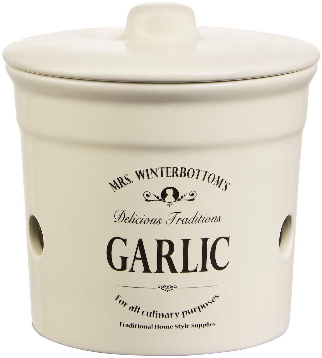 Aufbewahrungsdose Mrs Winterbottoms Garlic, Steingut, Creme, Schwarz, Ø 14 x H 12 cm