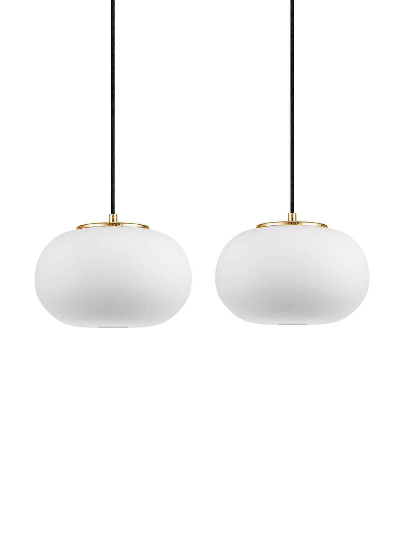 Pendelleuchte Dosei Double aus Opalglas, Lampenschirm: Opalglas, Weiß, Schwarz, Goldfarben, 75 x 153 cm