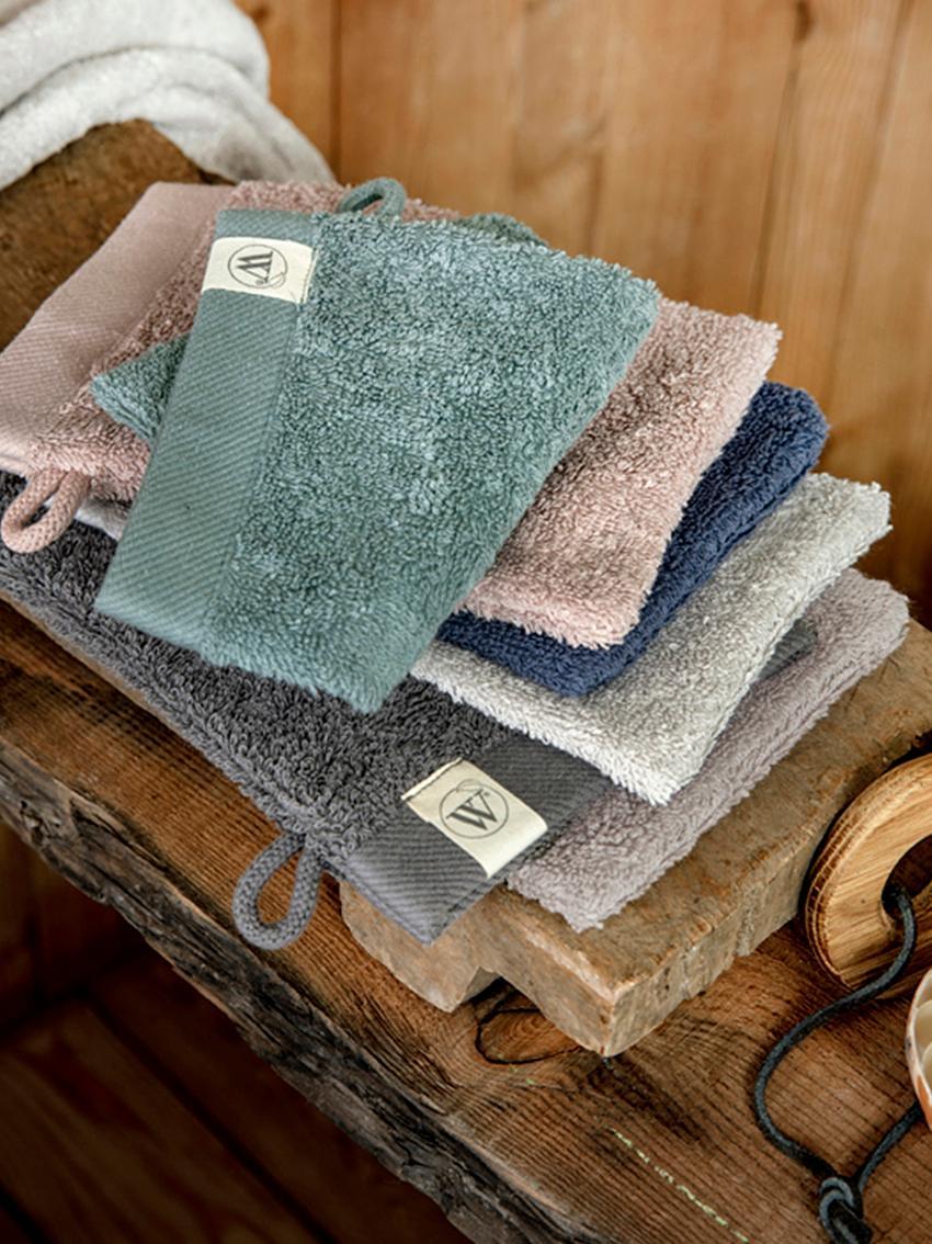 Waschlappen Blend aus recyceltem Baumwoll-Mix, 2 Stück, Hellgrau, 16 x 21 cm