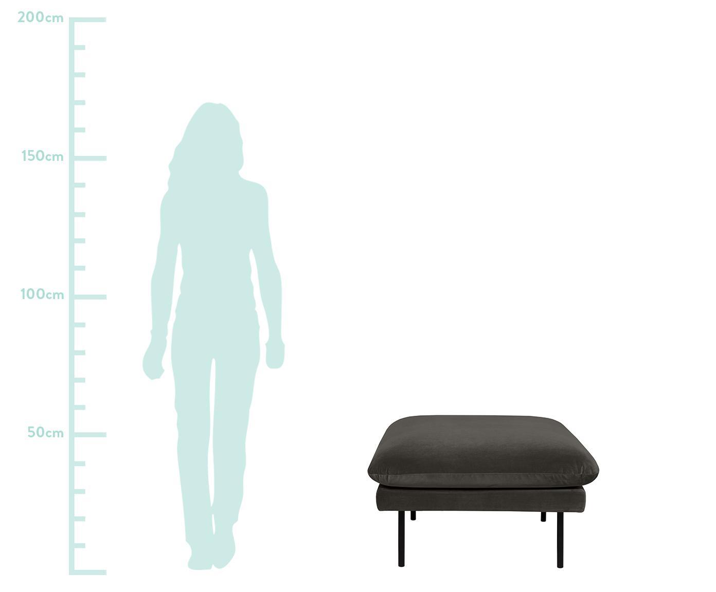 Sofa-Hocker Moby aus Samt, Bezug: Samt (Hochwertiger Polyes, Gestell: Massives Kiefernholz, Füße: Metall, pulverbeschichtet, Samt Braungrau, 78 x 48 cm