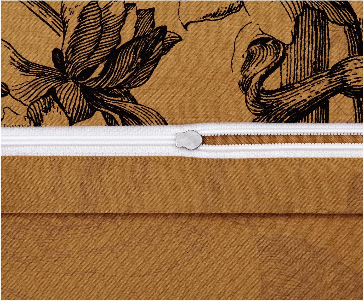 Dubbelzijdige katoensatijnen dekbedovertrek Vivienne, Weeftechniek: satijn, Okergeel, zwart, grijs, 260 x 220 cm
