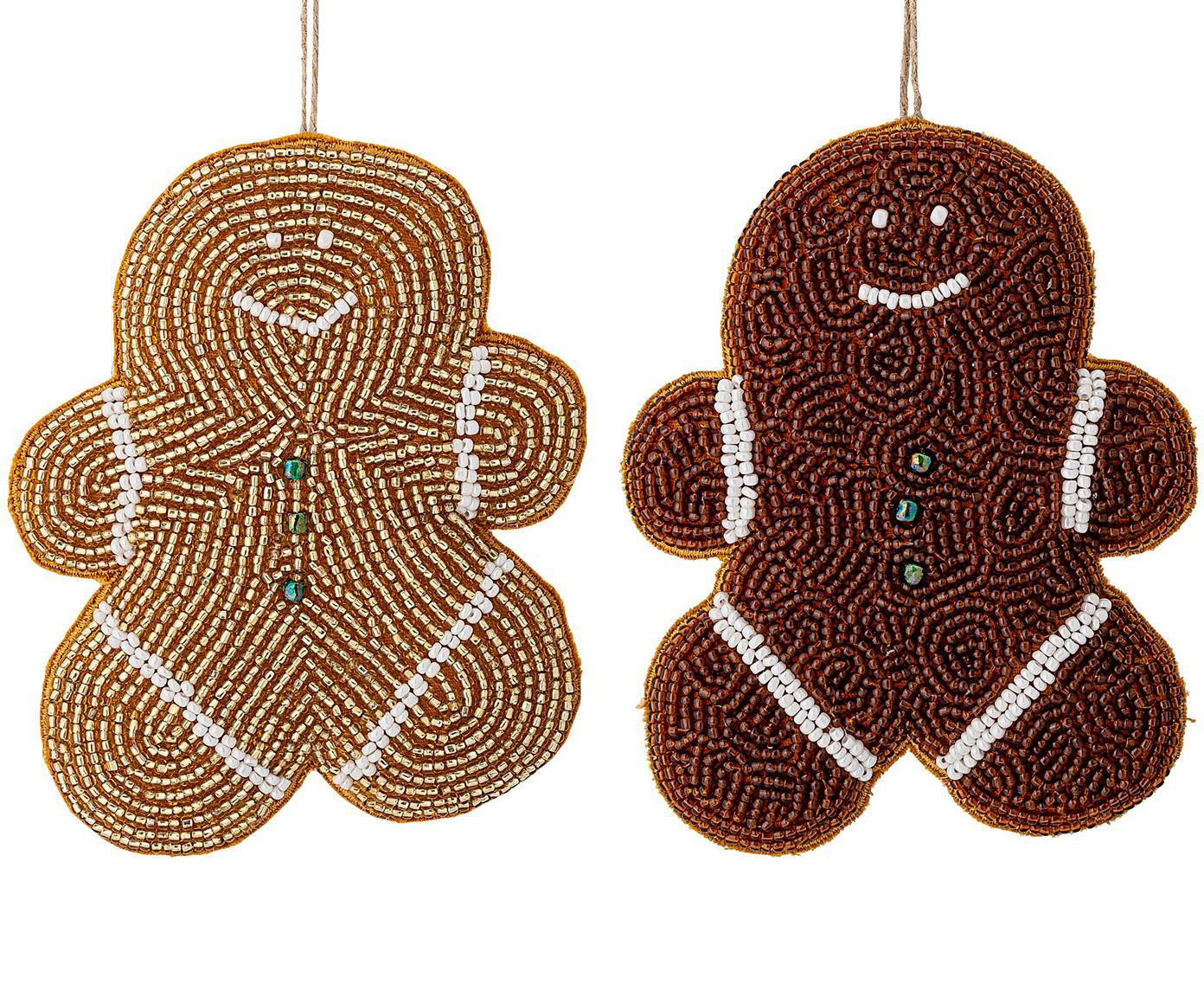 Baumanhänger-Set Cookie, 2-tlg., Glasperlen, Baumwolle, Braun, Goldfarben, Weiß, Gelb, 10 x 13 cm