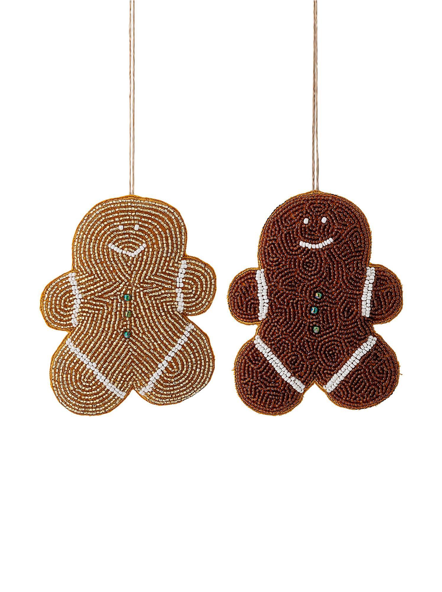 Set 2 ciondoli Cookie, Perline di vetro, cotone, Marrone, dorato, bianco, giallo, Larg. 10 x Alt. 13 cm