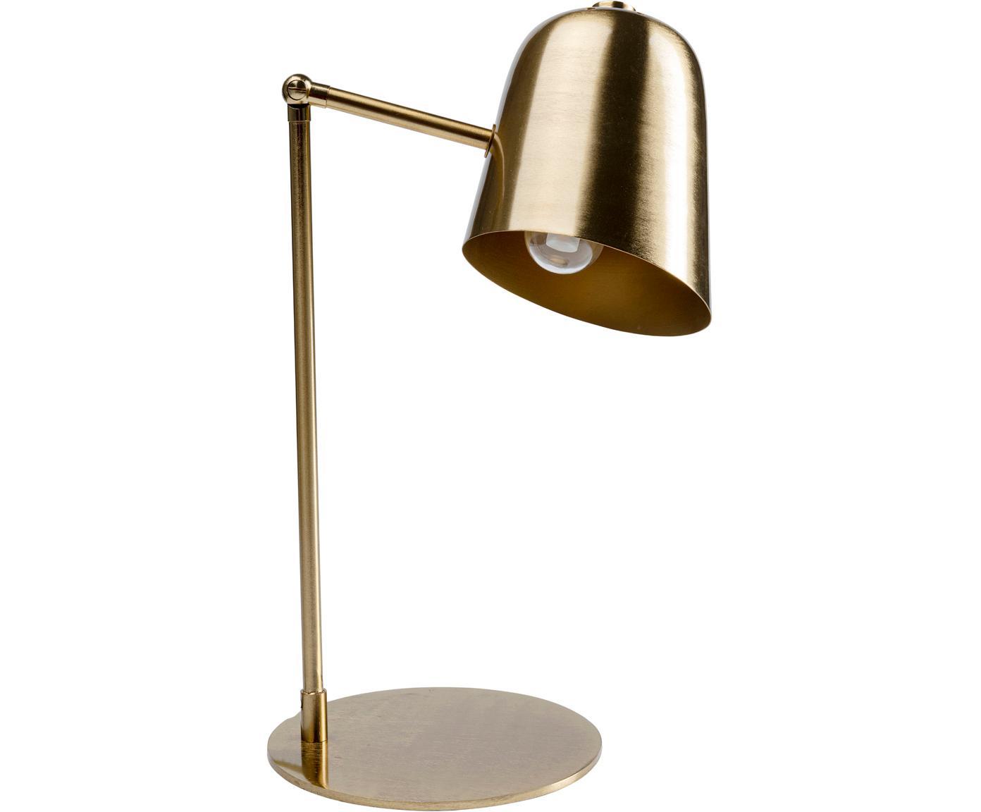 Retro bureaulamp Clive, Lampenkap: vermessingd staal, Lampvoet: vermessingd staal, Messingkleurig, 27 x 56 cm