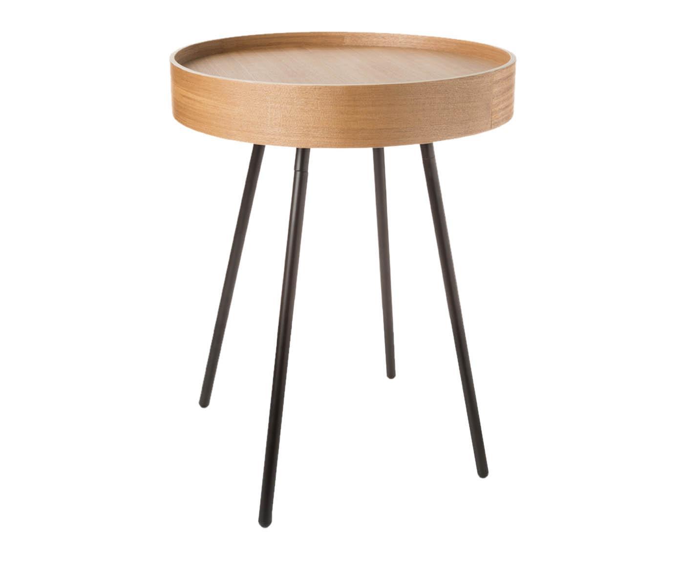 Mesa auxiliar con bandeja extraíble Oak Tray, Tablero: fibras de densidad media,, Patas: acero, pintura en polvo, Roble, Ø 47 x Al 56 cm