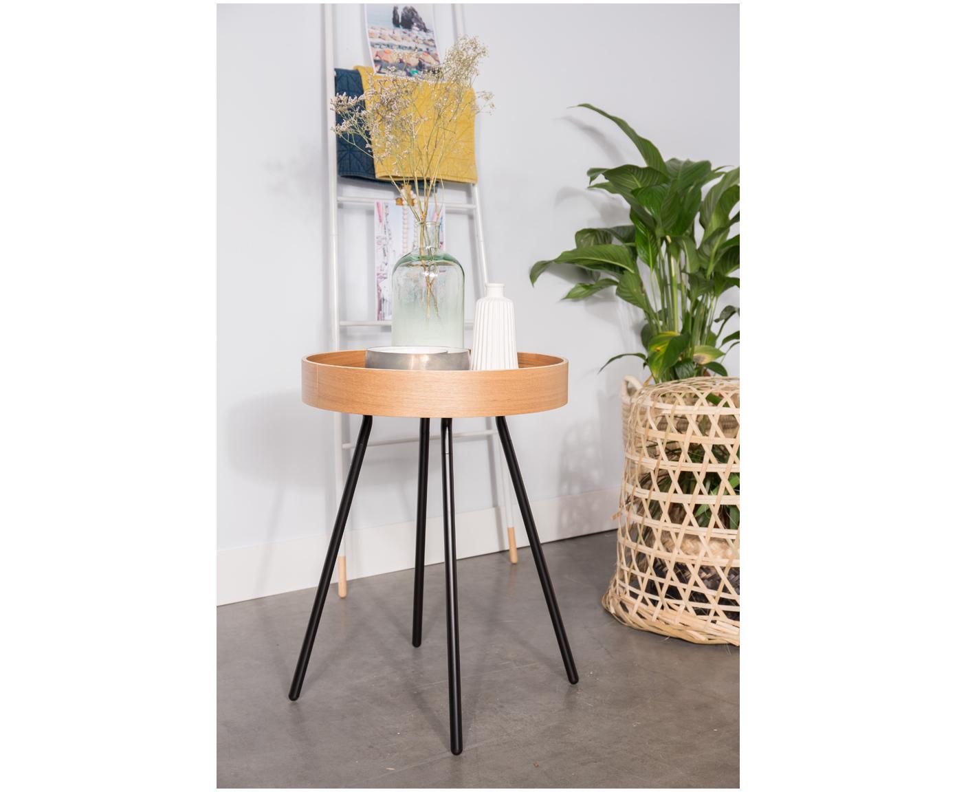 Stolik-taca Oak Tray, Nogi: stal malowana proszkowo, Drewno dębowe, Ø 47 x W 56 cm