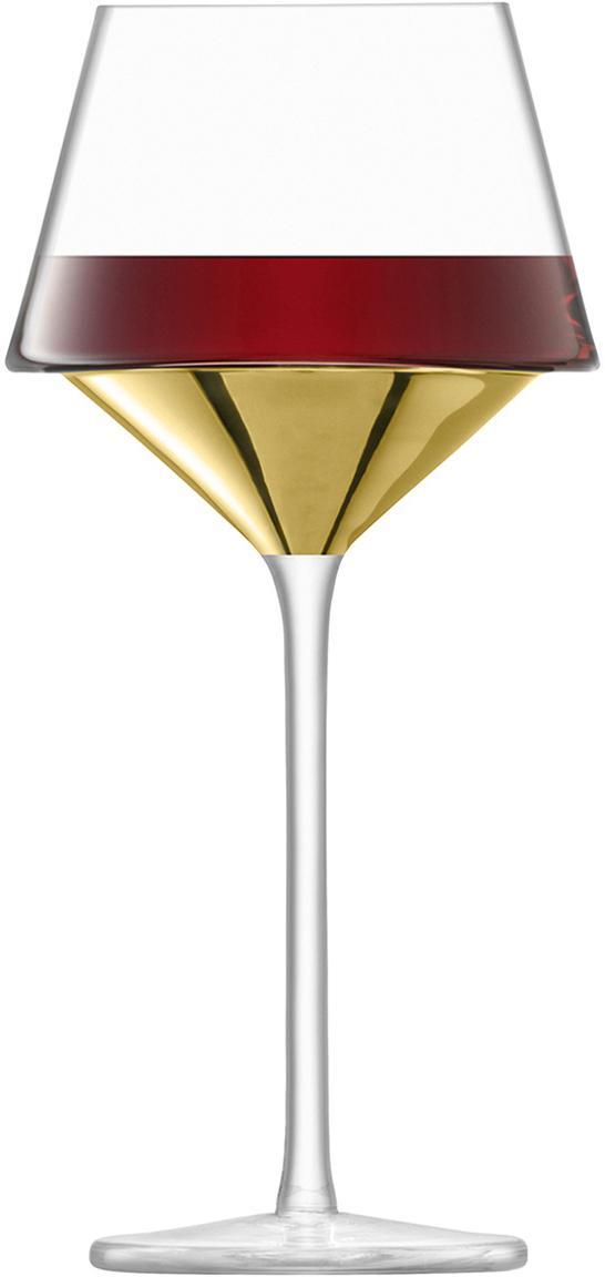 Copas de vino tinto soplados artesanalmente Space, 2uds., Vidrio, Transparente, dorado, Ø 11 x Al 23 cm