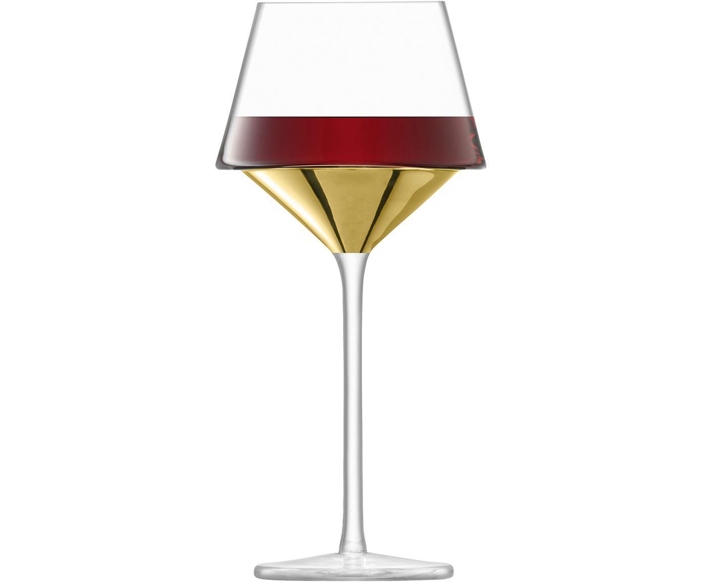 Copas de vino tinto de vidrio soplado Space, 2uds., Vidrio, Transparente, dorado, Ø 11 x Al 23 cm