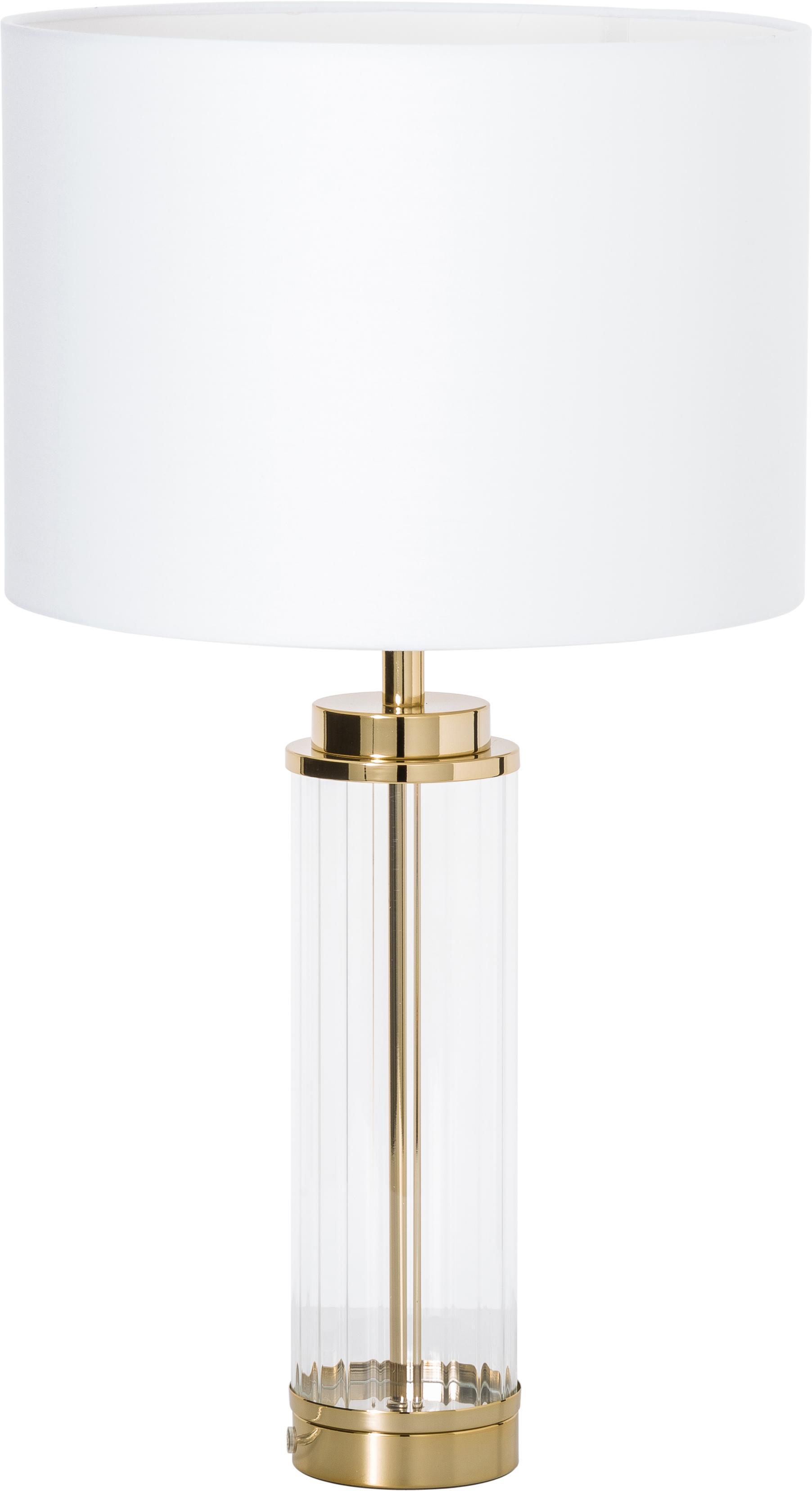 Grote glamoureuze tafellamp Gabor met glazen voet, Lampenkap: textiel, Lampvoet: metaal, glas, Lampenkap: crèmekleurig. Lampvoet: goudkleurig, Ø 35 x H 64 cm