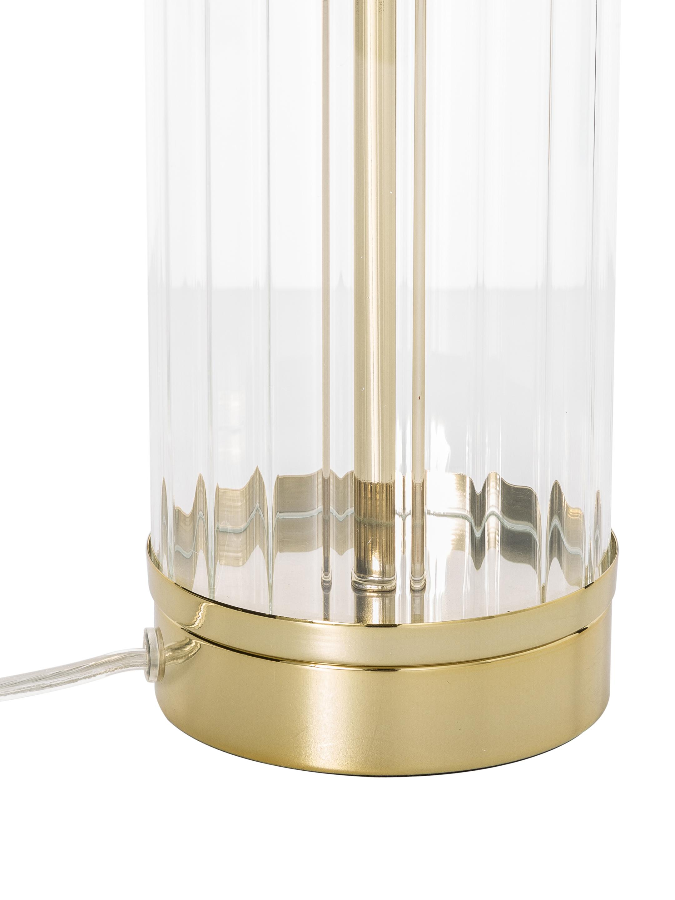 Lampa stołowa Gabor, Klosz: kremowy Podstawa lampy: odcienie złotego, Ø 35 x W 64 cm