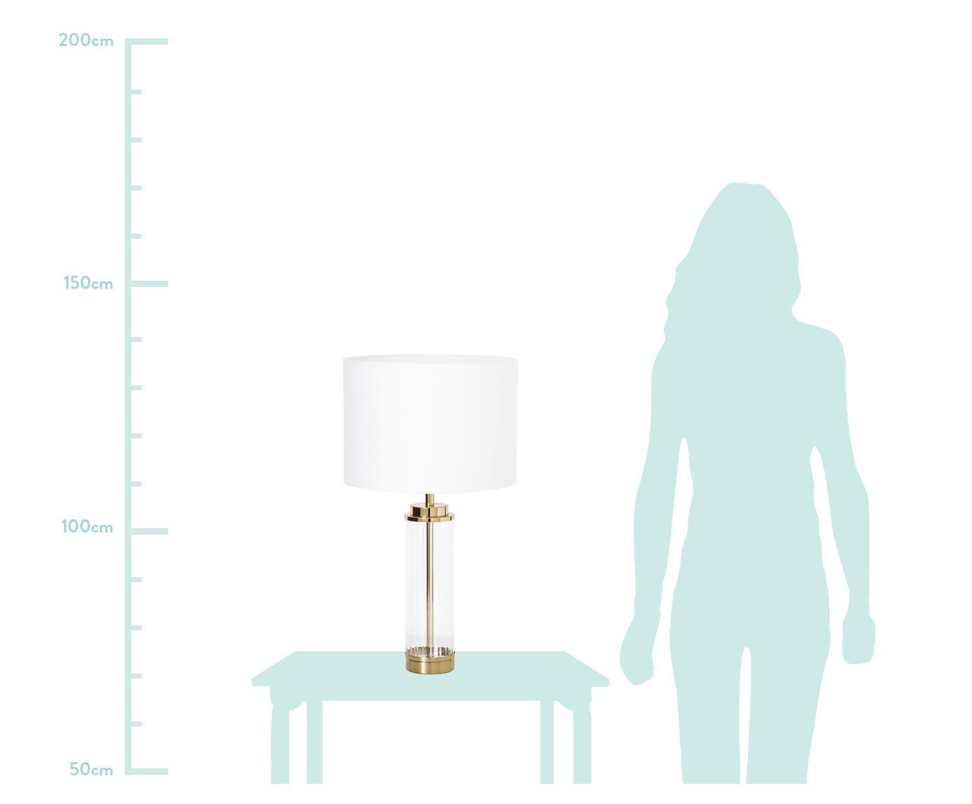 Große Glam-Tischlampe Gabor mit Glasfuß, Lampenschirm: Textil, Lampenfuß: Metall, Glas, Lampenschirm: Creme.Lampenfuß: Goldfarben, Ø 35 x H 64 cm