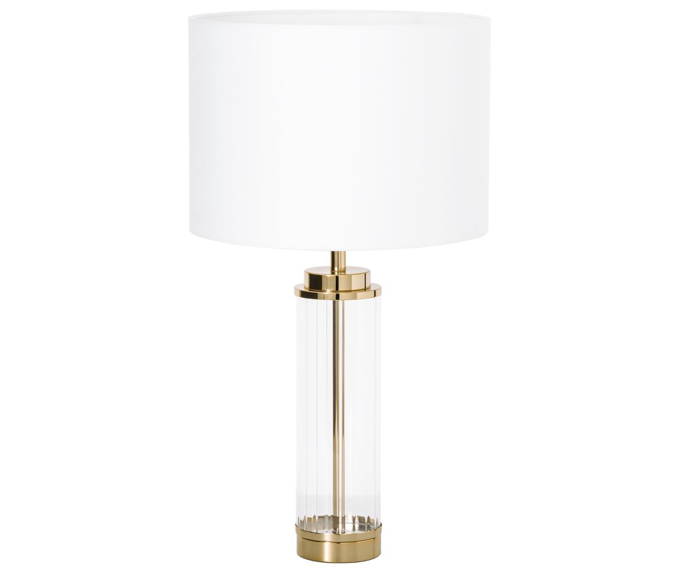 Glam-Tischleuchte Gabor mit Glasfuß, Lampenschirm: Textil, Lampenfuß: Metall, Glas, Lampenschirm: Creme.Lampenfuß: Goldfarben, Ø 35 x H 64 cm