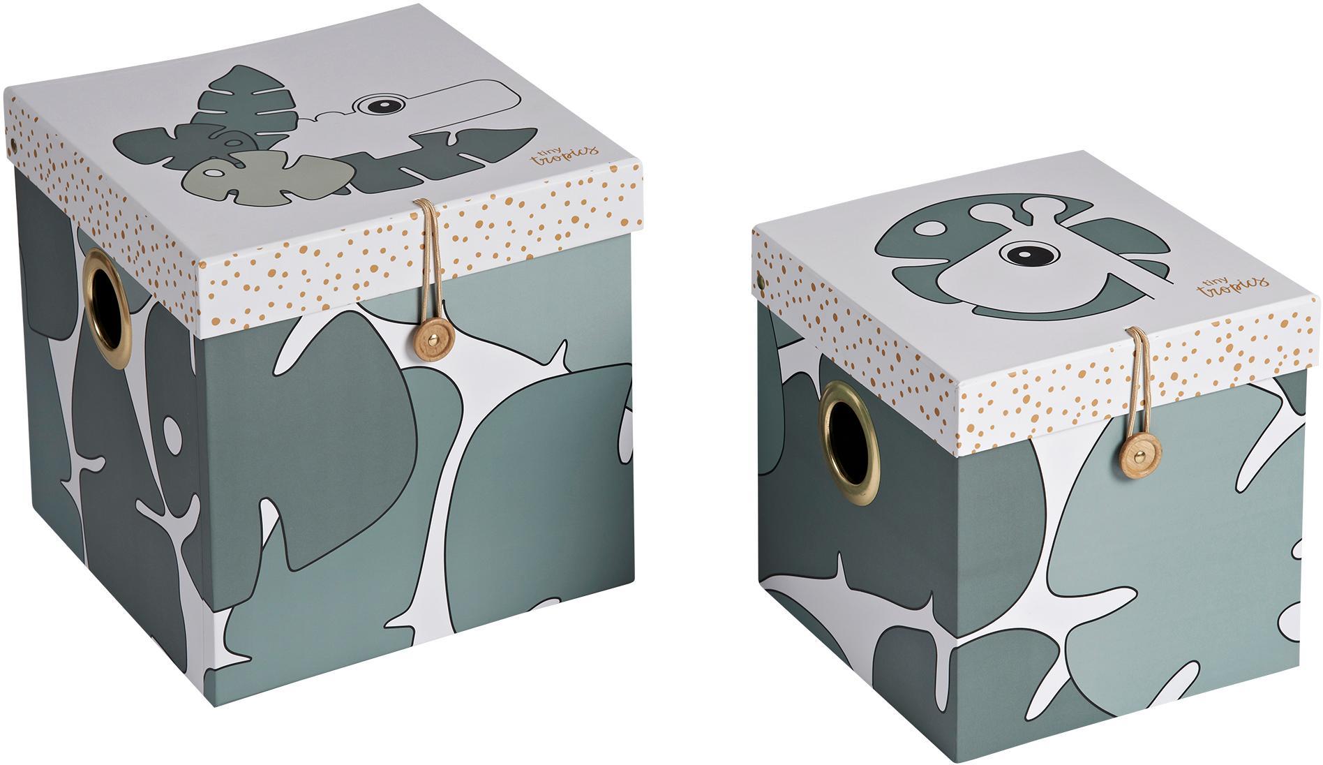 Aufbewahrungsboxen-Set Tiny Tropics, 2-tlg., Karton, laminiert, Grün, Set mit verschiedenen Größen