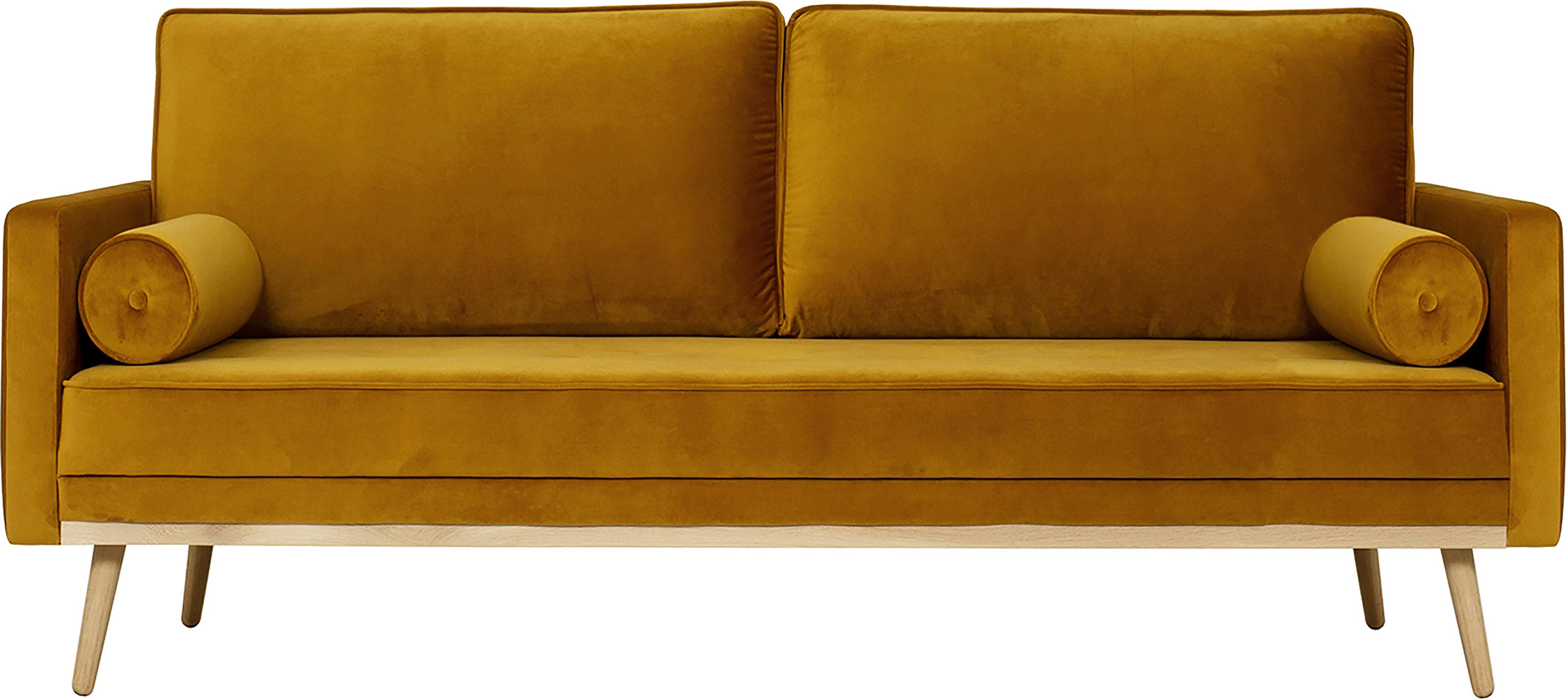Divano 3 posti in velluto giallo ocra Saint, Rivestimento: velluto (poliestere) 35.0, Giallo ocra, Larg. 210 x Prof. 93 cm