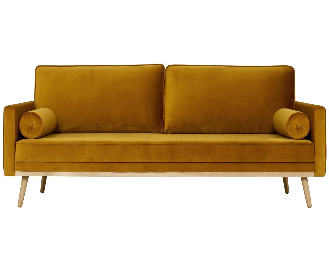 Samt-Sofa Saint (3-Sitzer), Bezug: Samt (Polyester) 35.000 S, Gestell: Massives Eichenholz, Span, Samt Senfgelb, B 210 x T 93 cm