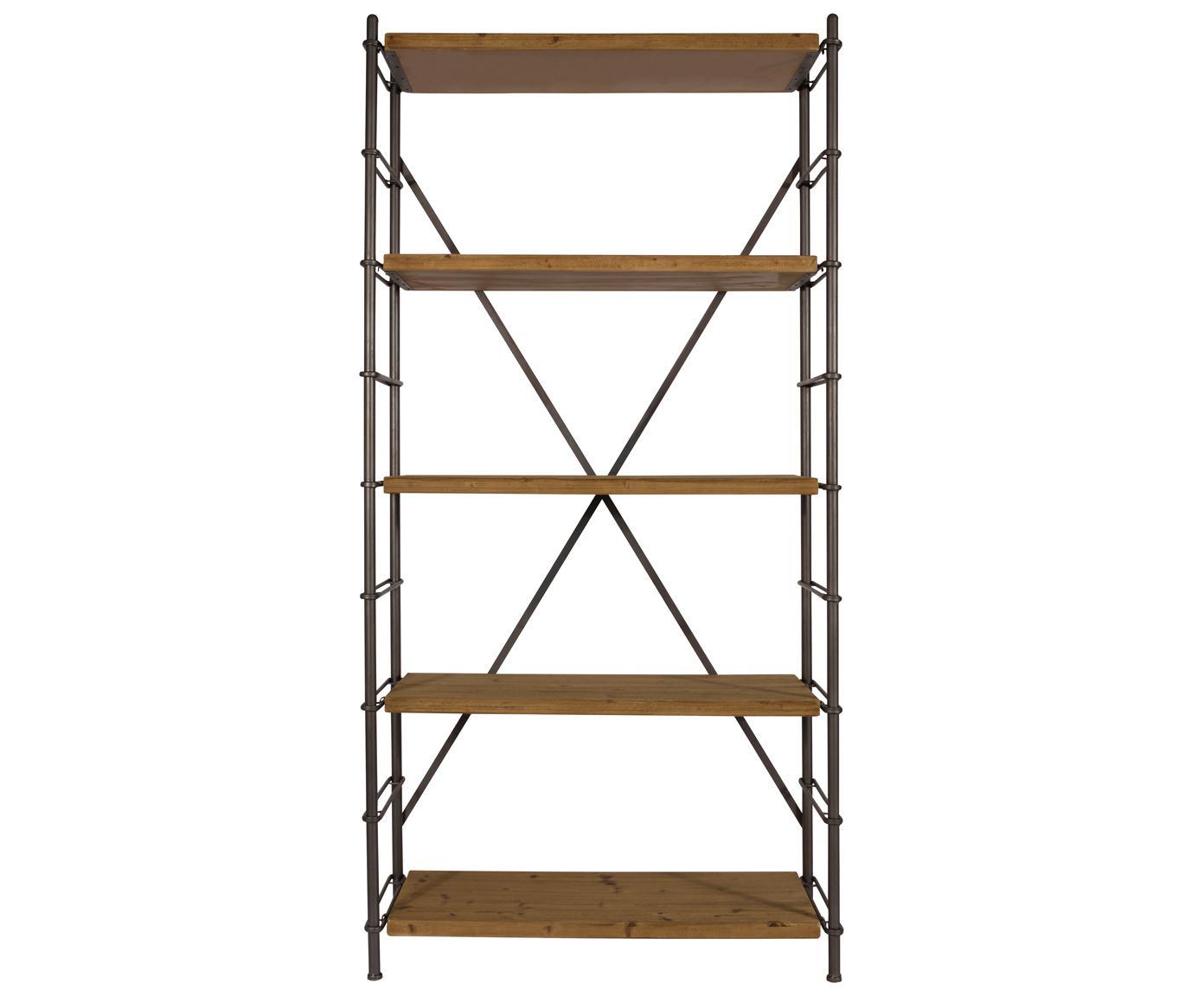 Estantería Iron, Estructura: metal, pintura en polvo, Estantes: madera de abeto maciza, Madera de abeto, negro, An 100 x Al 200 cm
