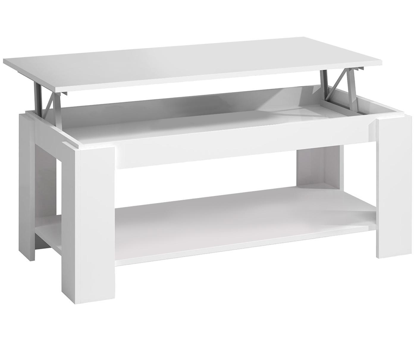 Mesa de centro Ambit, Melamina, Blanco, An 102 x Al 54 cm