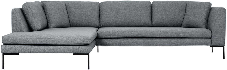 Canapé d'angle Emma, Tissu gris, pieds noirs