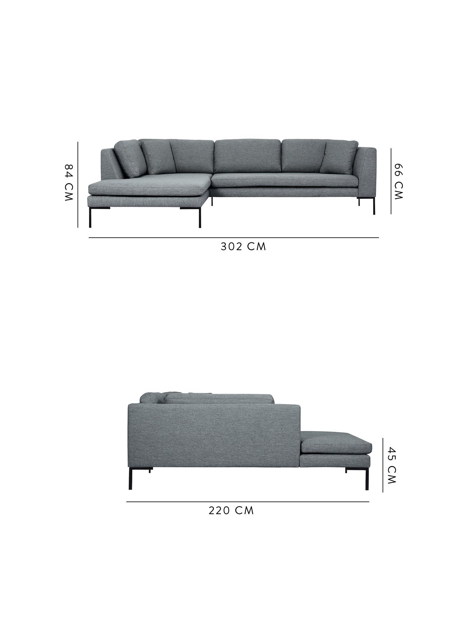 Ecksofa Emma, Bezug: Polyester 100.000 Scheuer, Gestell: Massives Kiefernholz, Webstoff Grau, Füsse Schwarz, B 302 x T 220 cm