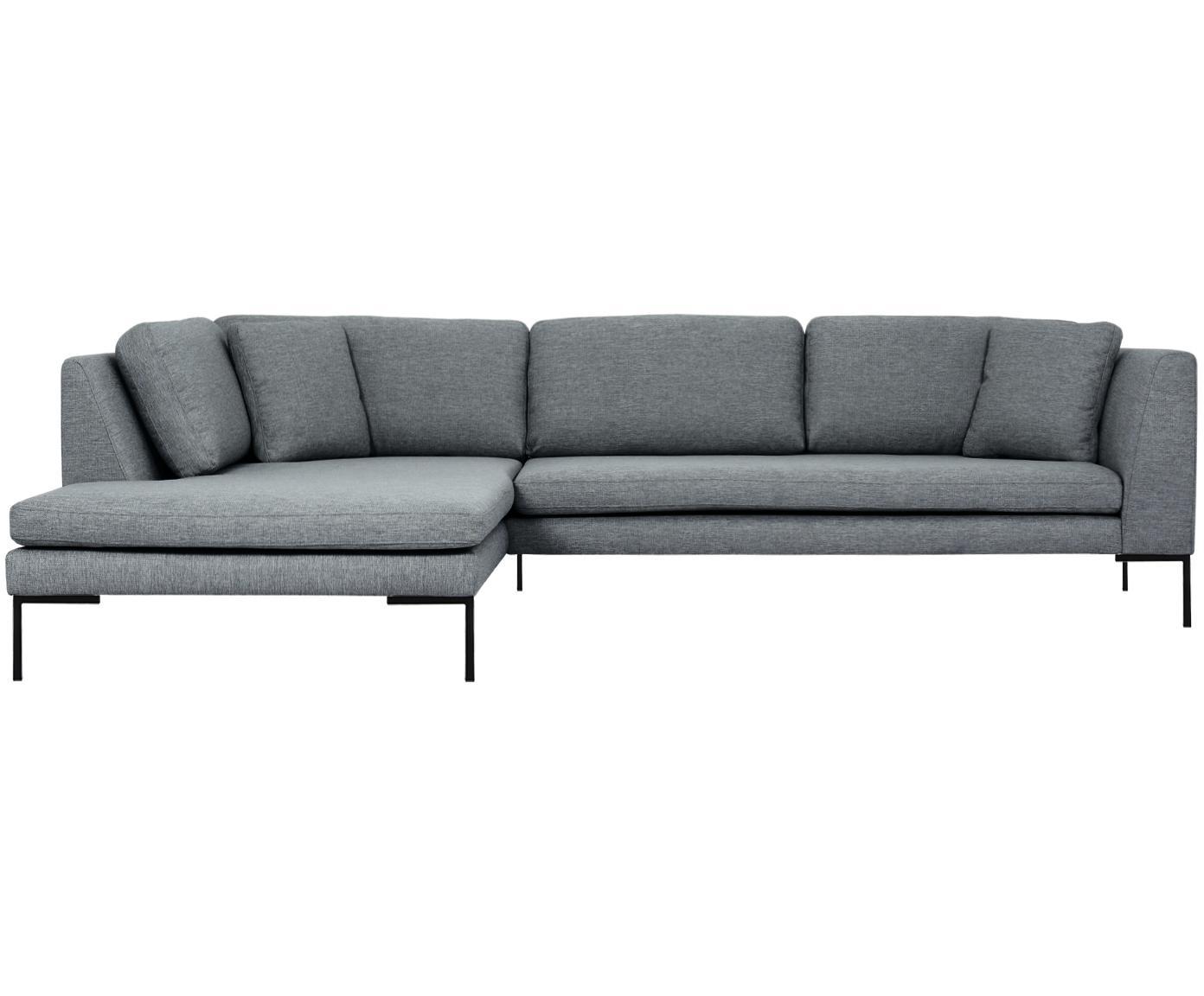 Hoekbank Emma, Bekleding: polyester, Frame: massief grenenhout, Poten: gepoedercoat metaal, Grijs, B 302 x D 220 cm