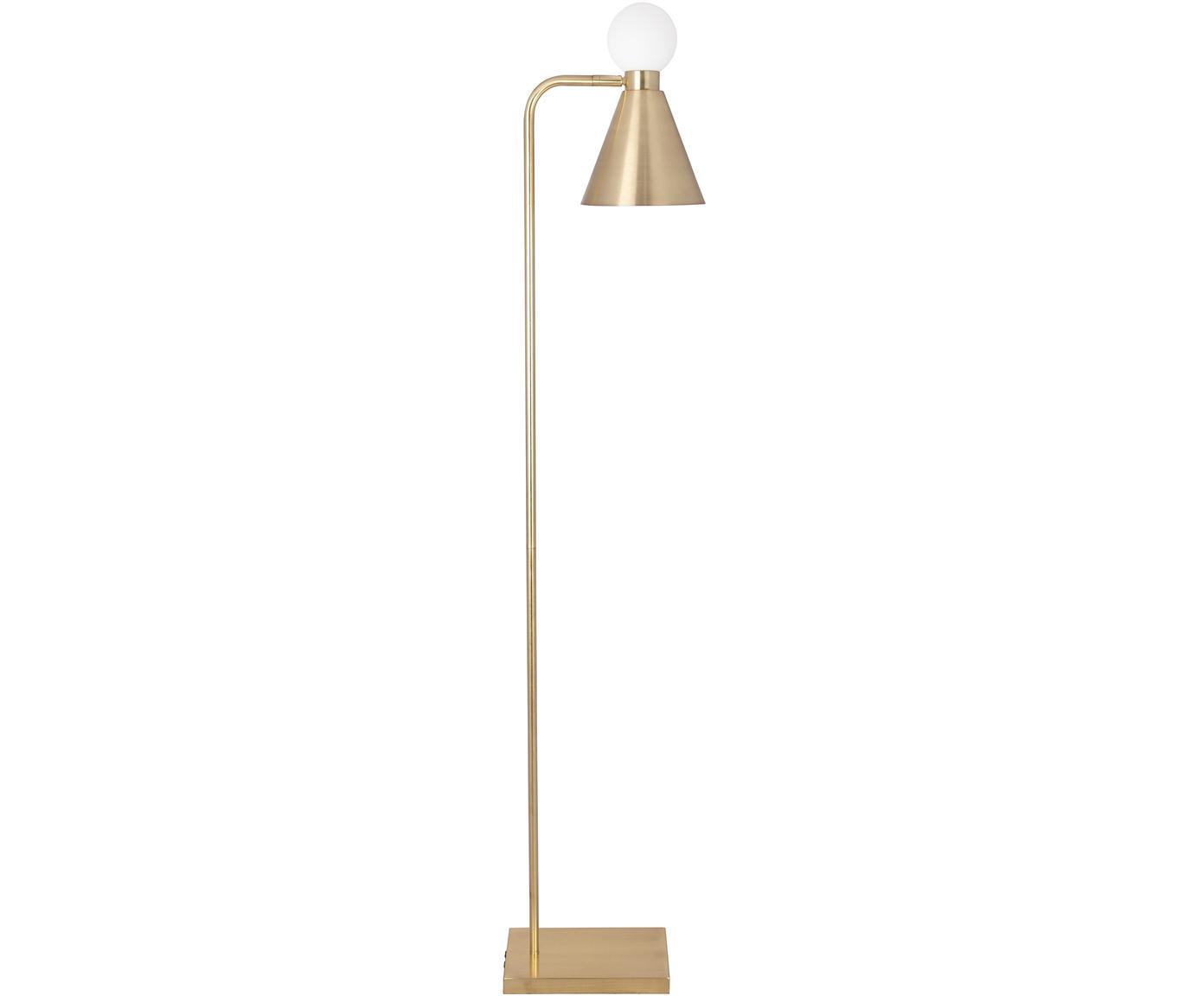Lampada da terra con decoro in vetro Ludo, Paralume: metallo, Base della lampada: metallo, Ottonato, spazzolato, bianco, Larg. 18 x Alt. 156 cm
