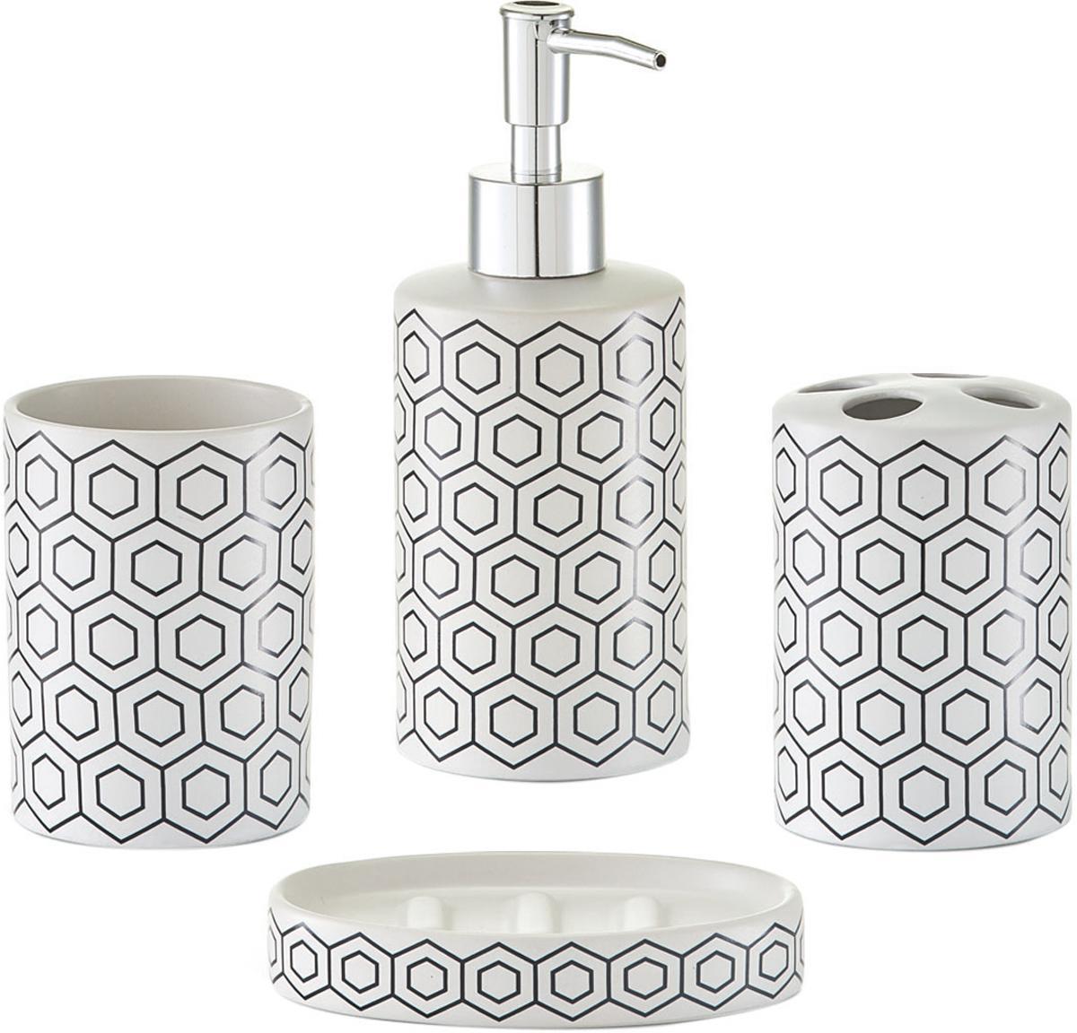 Set de accesorios de baño Graphic, 4pzas., Dosificador: plástico, Negro, blanco, Set de diferentes tamaños