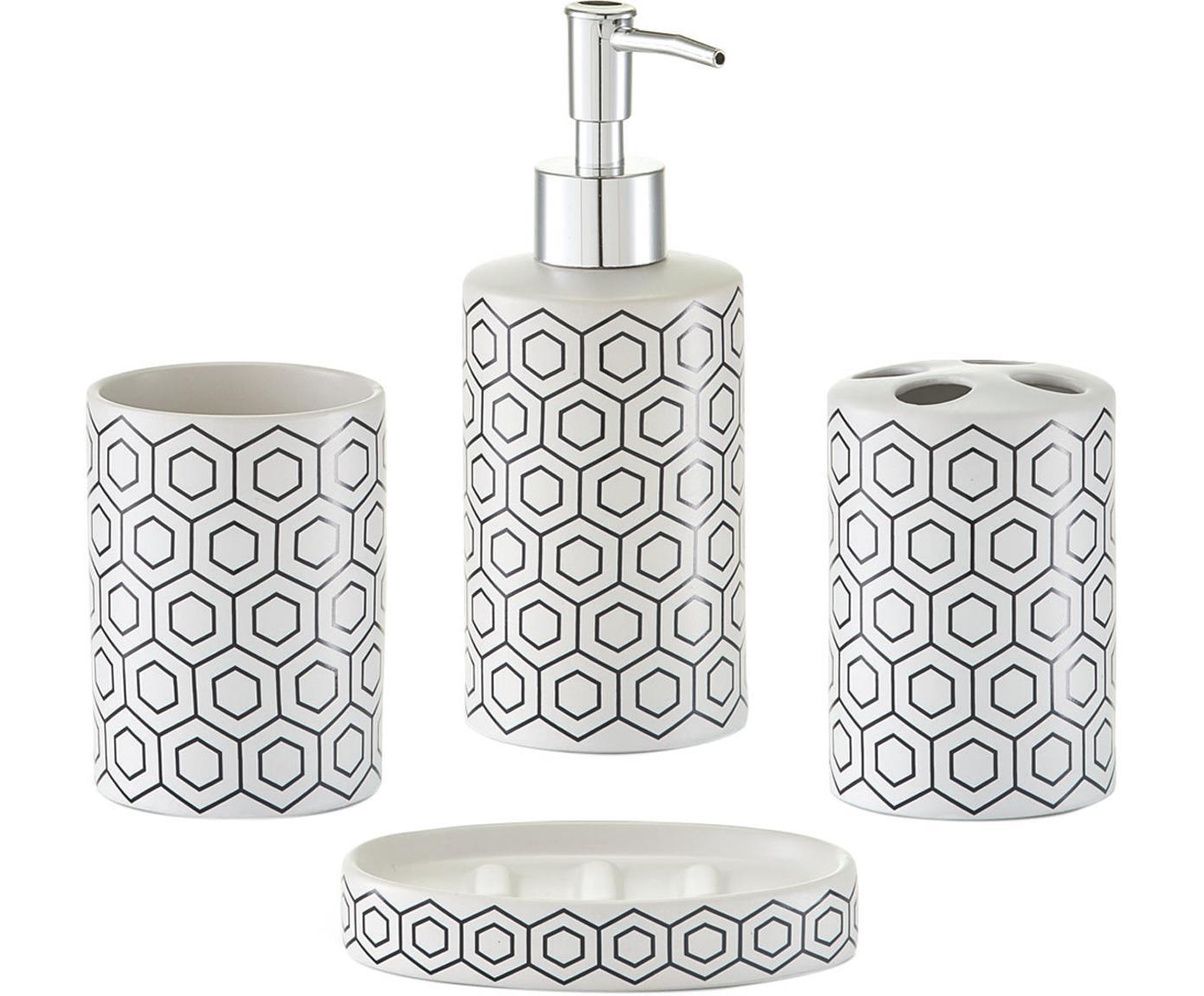 Set de accesorios de baño Graphic, 4pzas., Dosificador: plástico, Negro, blanco, Tamaños diferentes