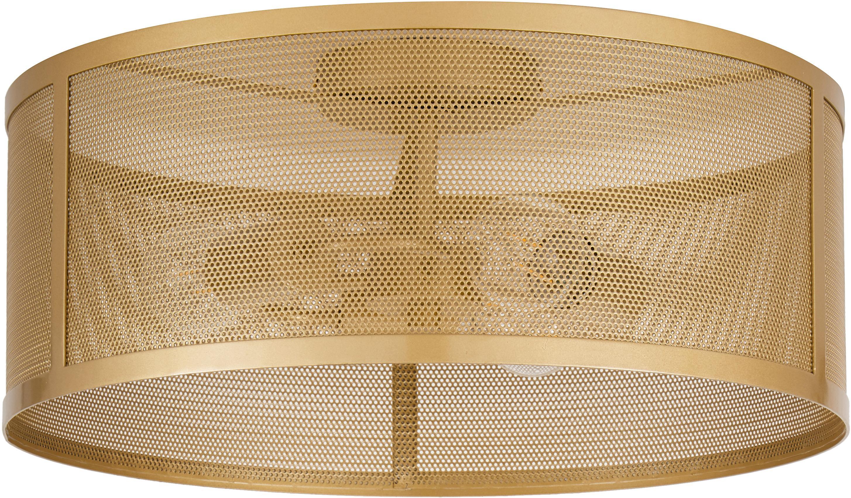 Plafondlamp Fishnet, Gecoat metaal, Goudkleurig, Ø 45 x H 21 cm